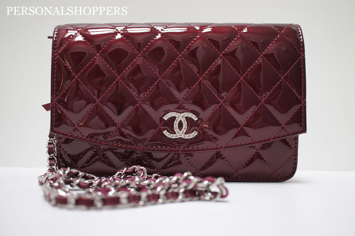 Chanel Red Bordeaux Leather Wallet-on-a-Chain Woc Bag  2242dcaf903e0