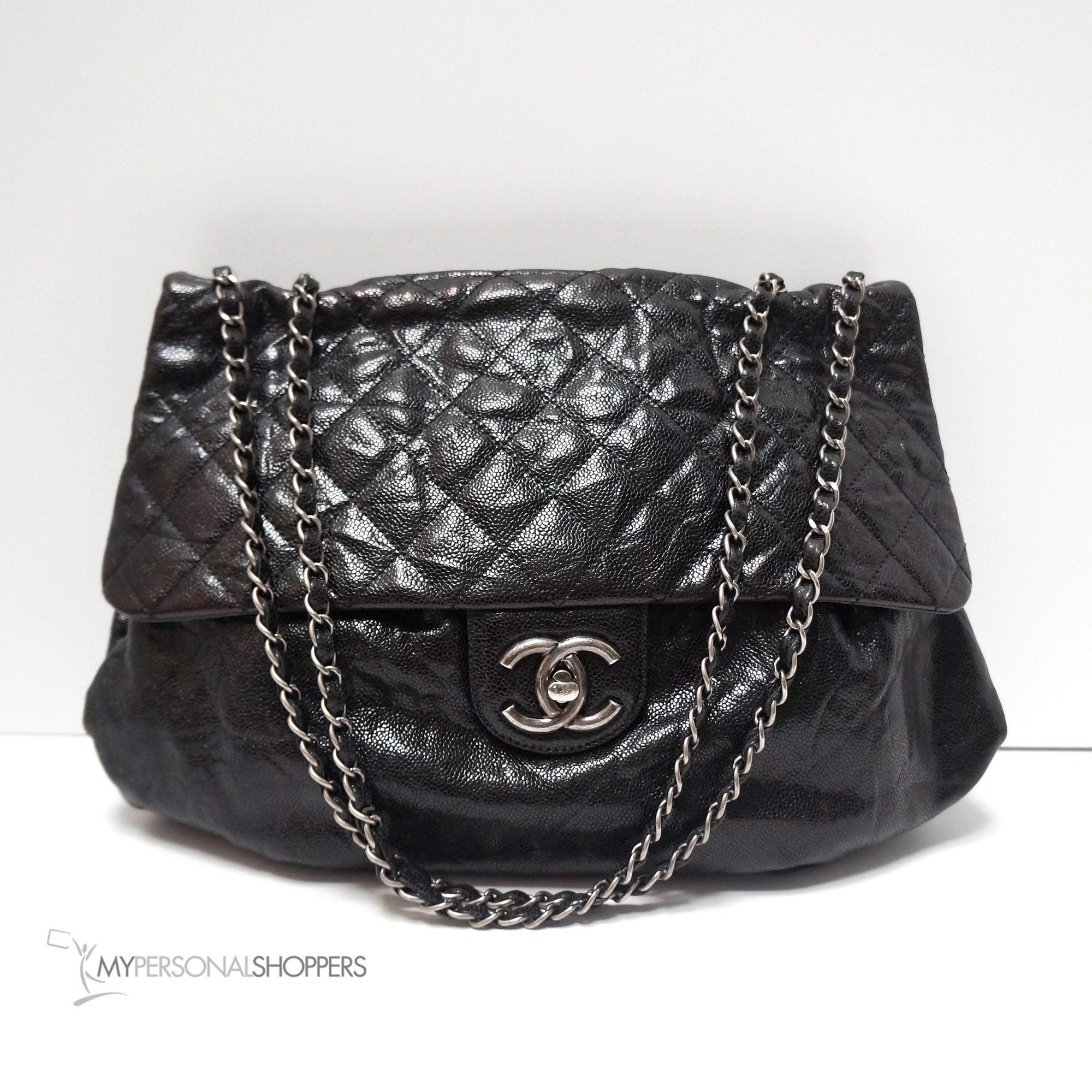 3296d9751120 Chanel Black Glazed Caviar Leather Elastic Jumbo Flap Messenger Cross-body  Bag