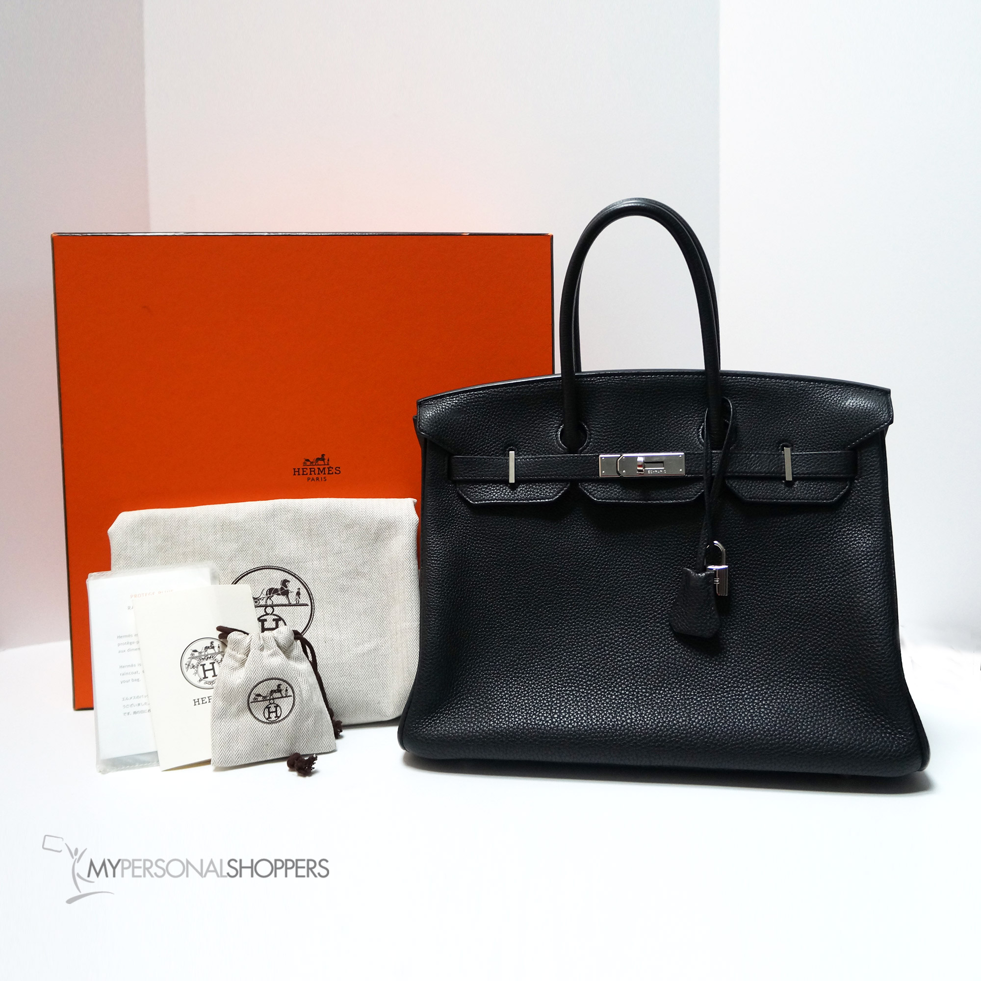 6329902b34 Hermes Black Togo Leather Palladium Hardware Birkin 35cm Bag