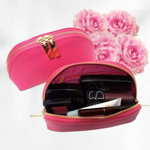Lexi Pink Saffiano Leather Makeup Case