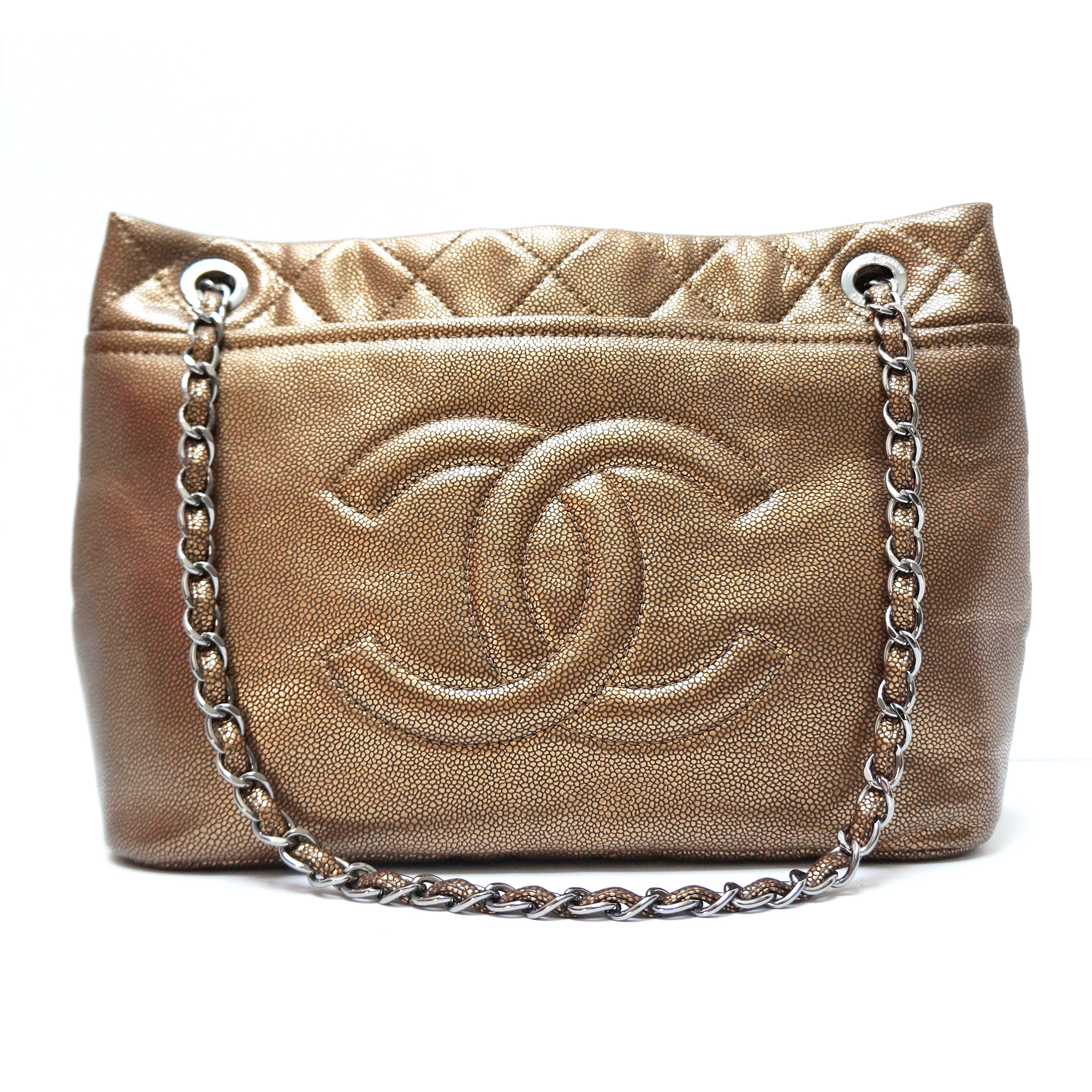 Chanel Bronze Soft Caviar Leather Large Shopping Tote
