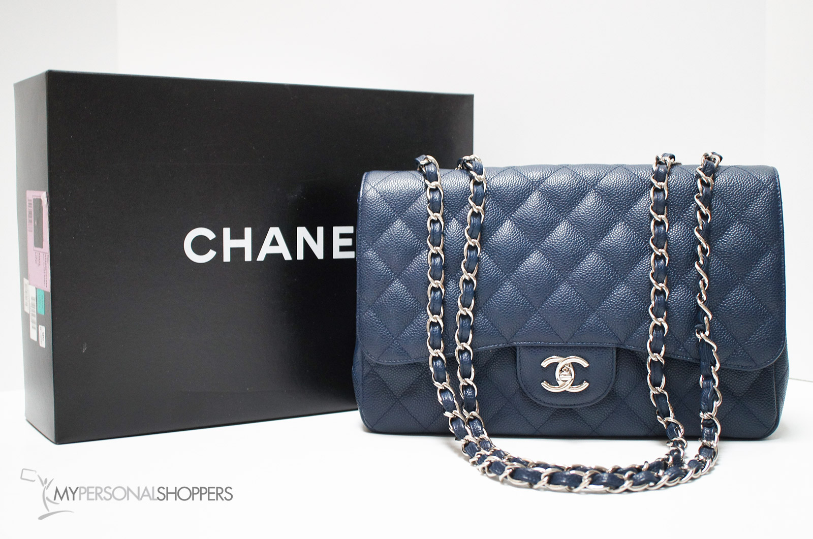 bba838b52f7f Chanel Classic Jumbo Single Flap Navy Blue Caviar Leather Silver ...