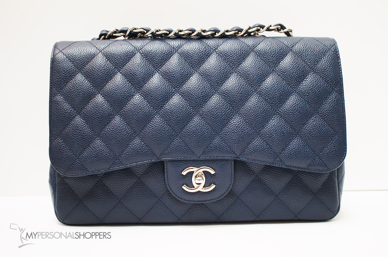 942121c4da Chanel Classic Jumbo Single Flap Navy Blue Caviar Leather Silver ...