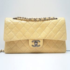 Chanel M/L Double Flap Bag Ivory Python