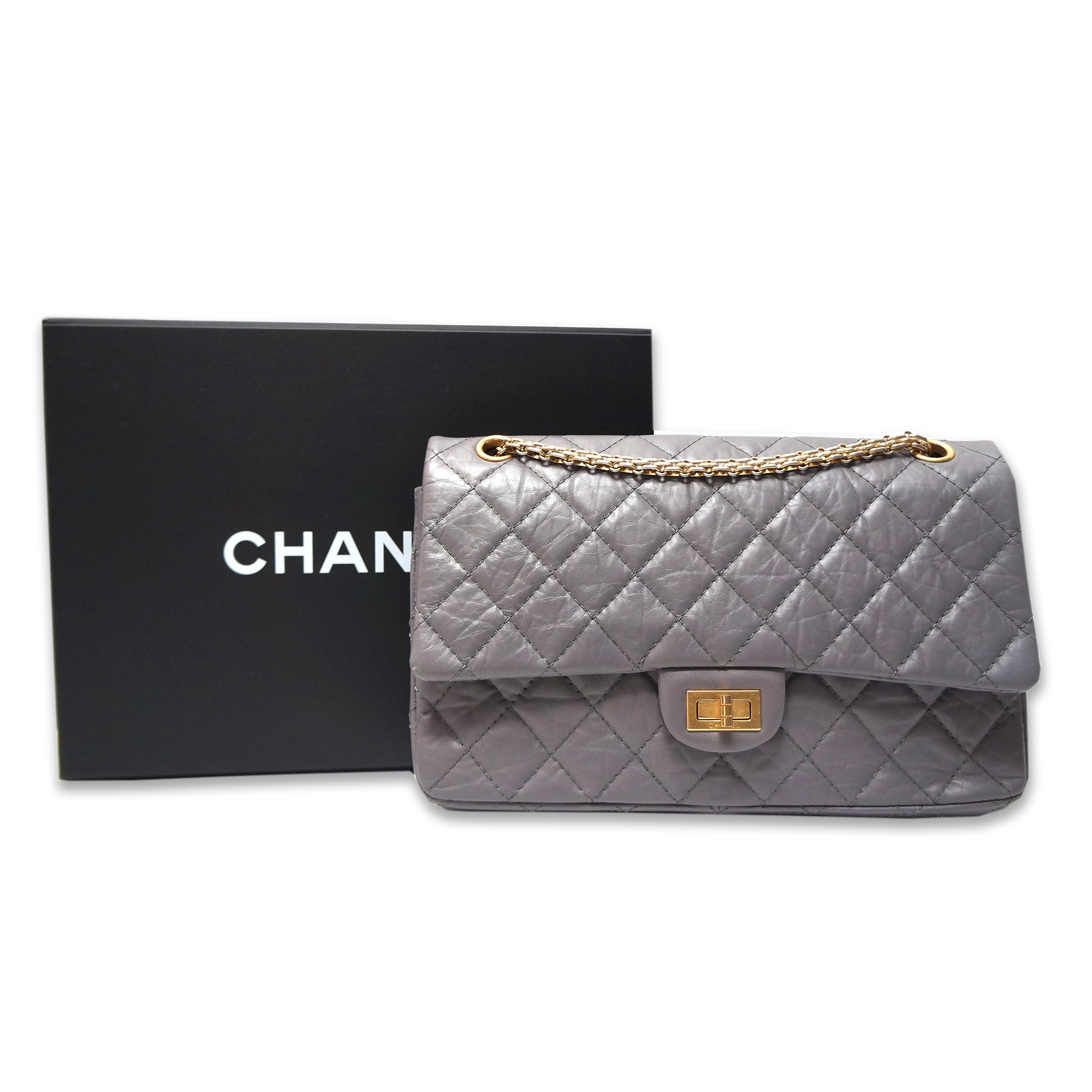 87285643d6ed Chanel 2.55 Reissue Flap Bag 226 Grey Aged Leather Gold Hardware ...