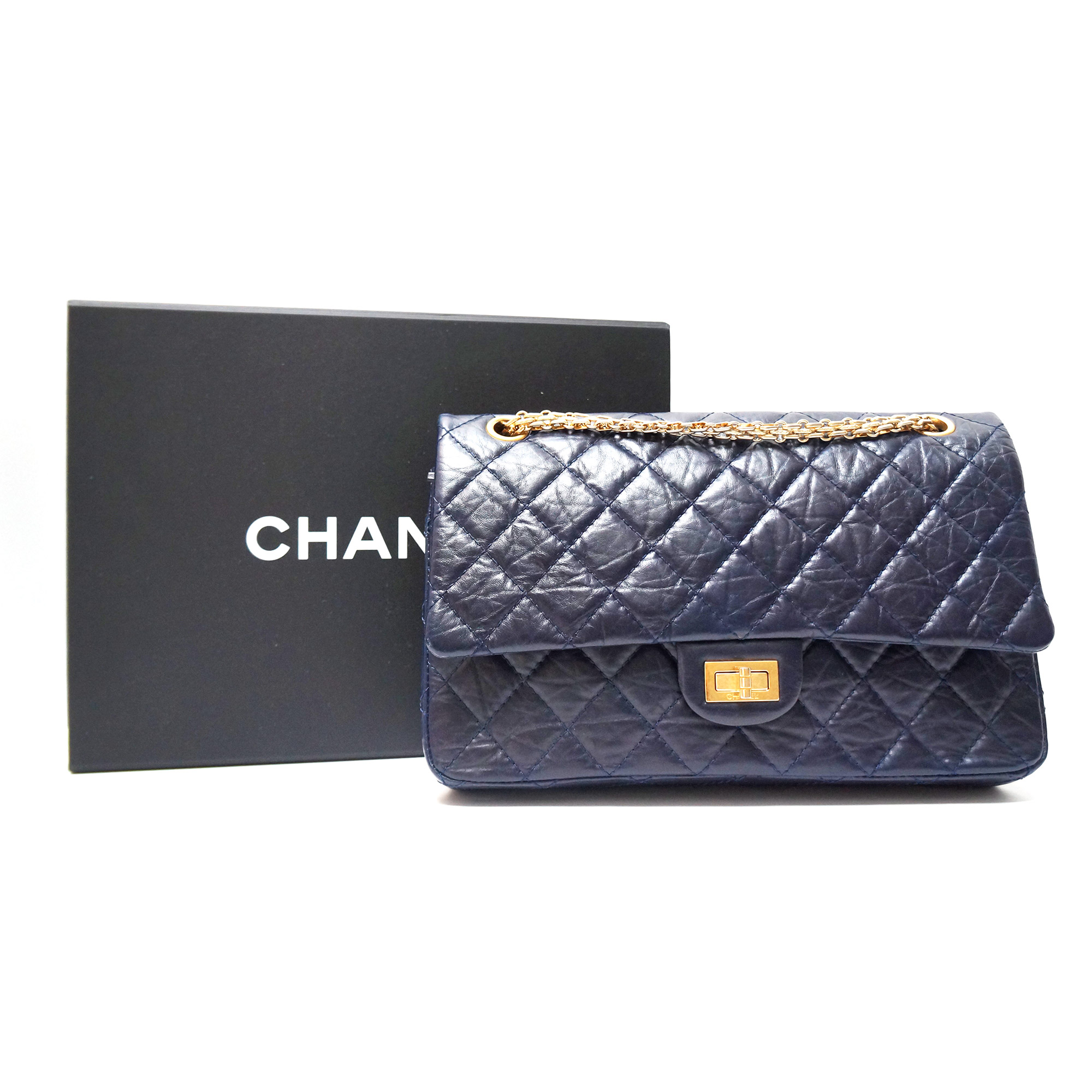 Chanel 2.55 Reissue Flap Bag Navy Aged Calfskin with Gold Hardware