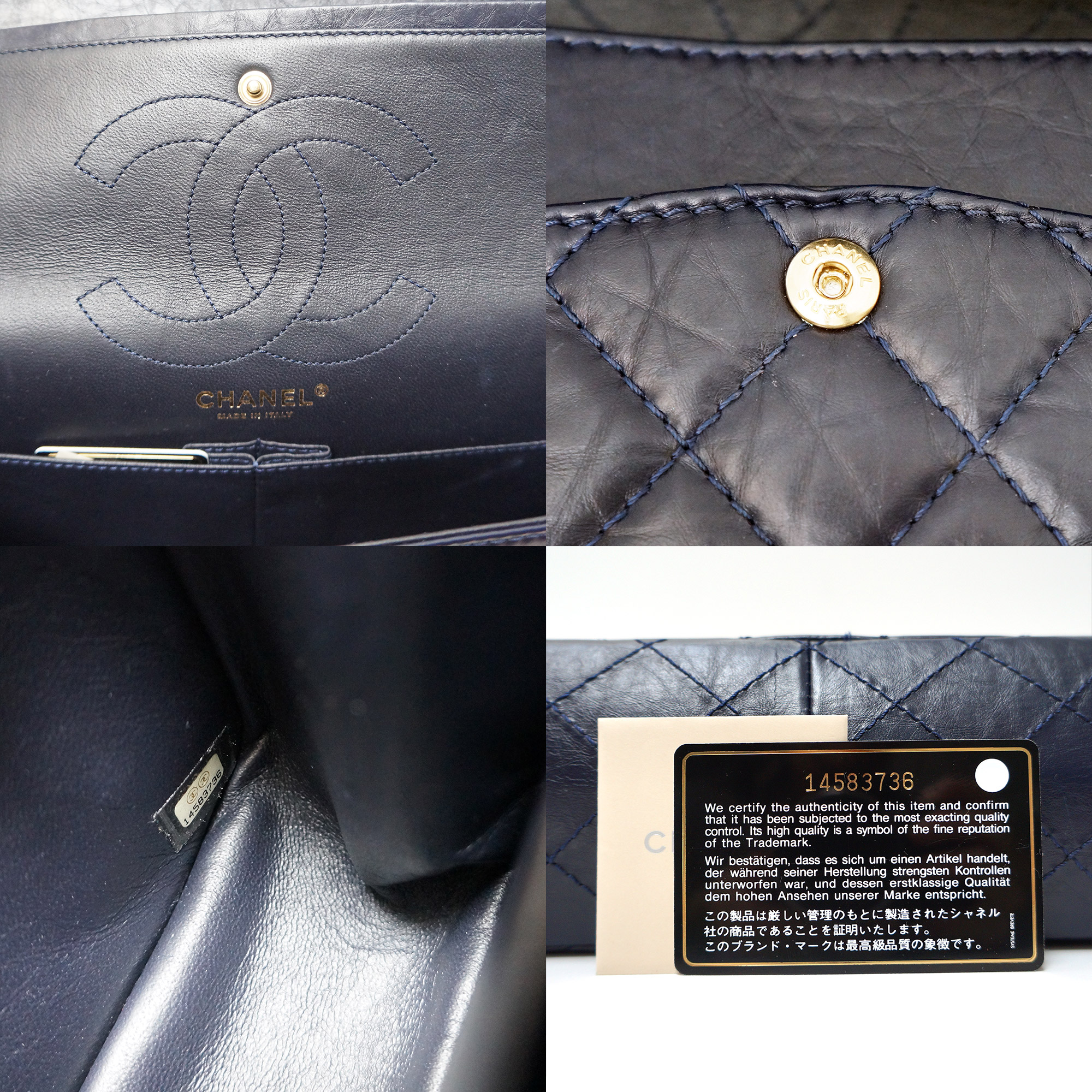3c8874f50166 Chanel 2.55 Reissue Flap Bag 226 Navy Aged Leather Gold Hardware ...