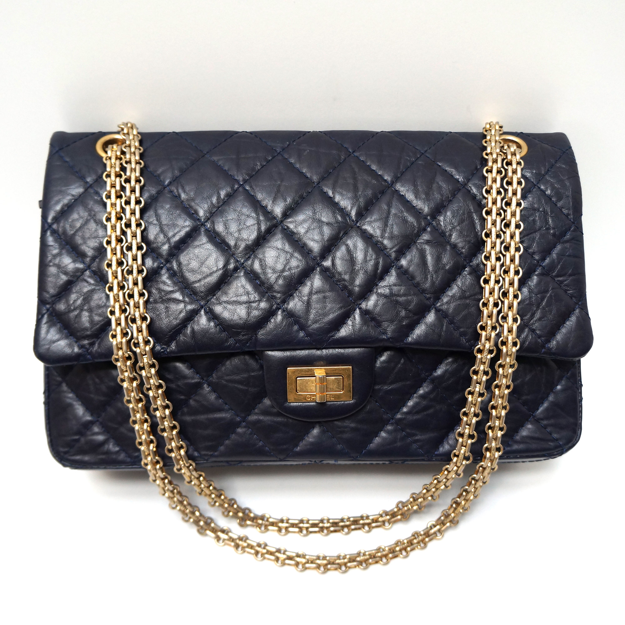 chanel reissue flap bag 226 navy aged leather gold hardware my personal shoppers. Black Bedroom Furniture Sets. Home Design Ideas