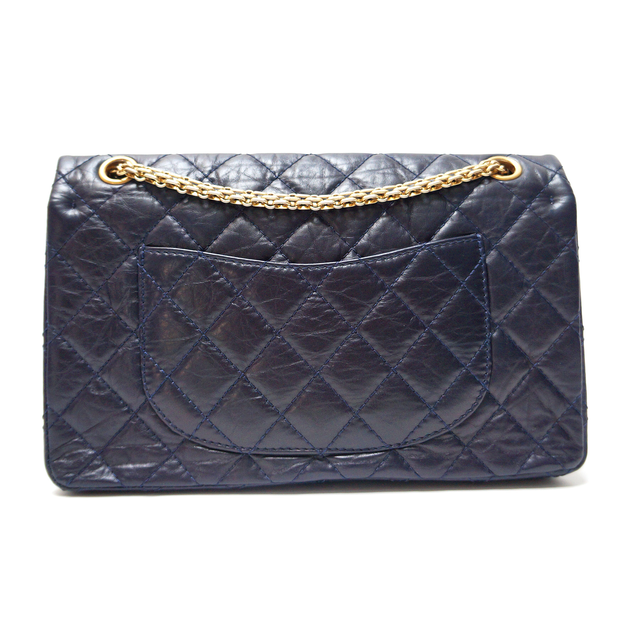 a1cbe0f5e11c Chanel 2.55 Reissue Flap Bag 226 Navy Aged Leather Gold Hardware ...