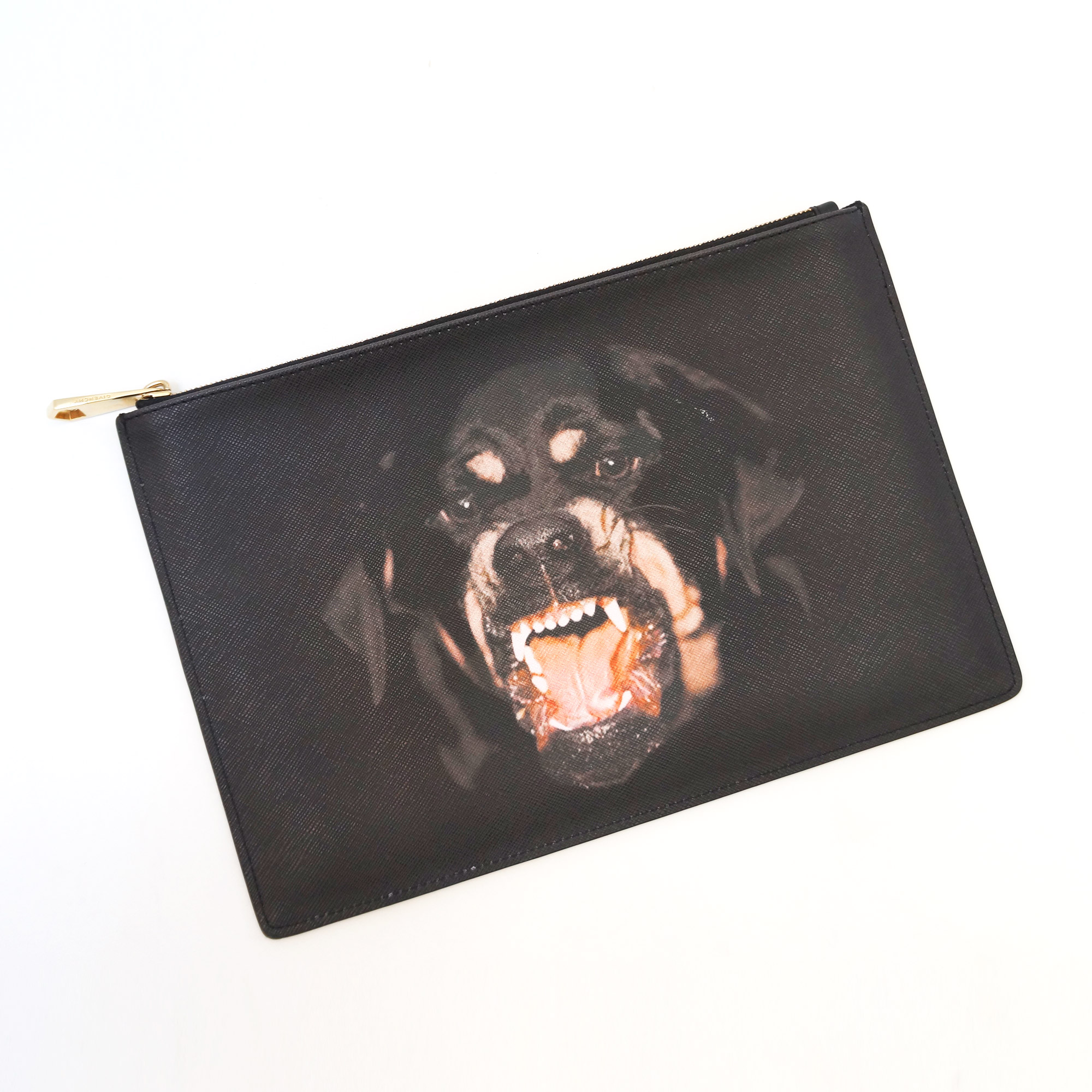 Givenchy Black Coated Canvas Rottweiler Clutch
