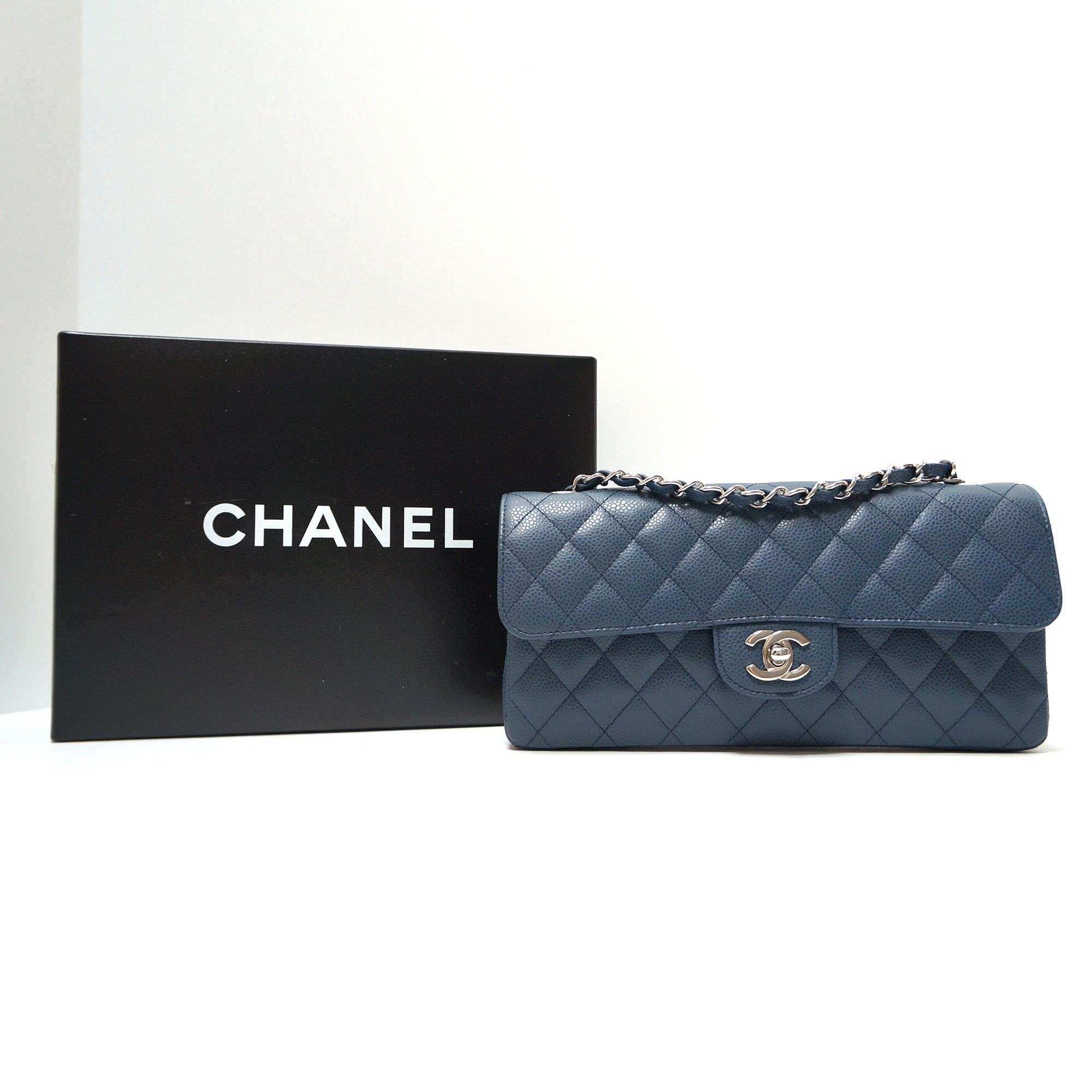 Chanel Small E/W Flap Bag in Dusty Blue Caviar Leather