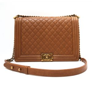 Chanel Jumbo Boy Flap Bag Caramel Caviar Leather