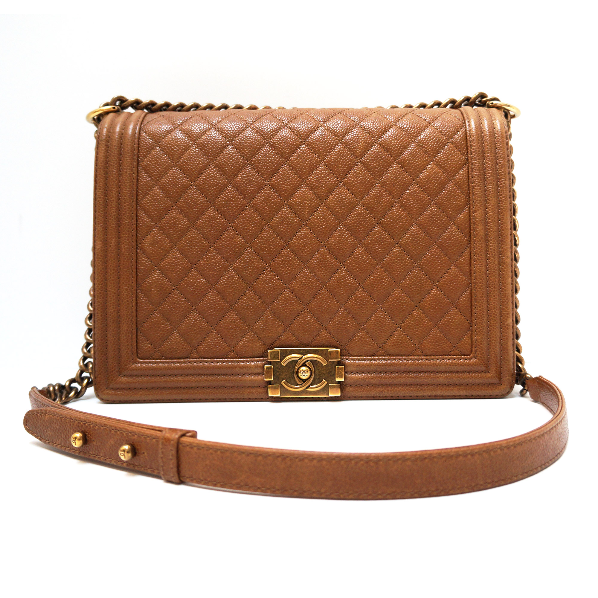 74e1d645aea2 Chanel Jumbo Boy Flap Bag Caramel Caviar Leather Gold Hardware ...