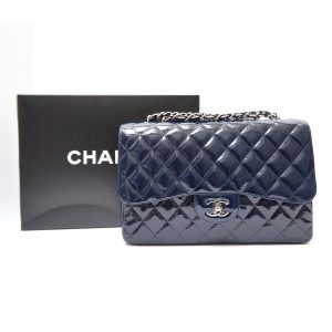 Chanel Jumbo Flap Bag Navy Patent Leather