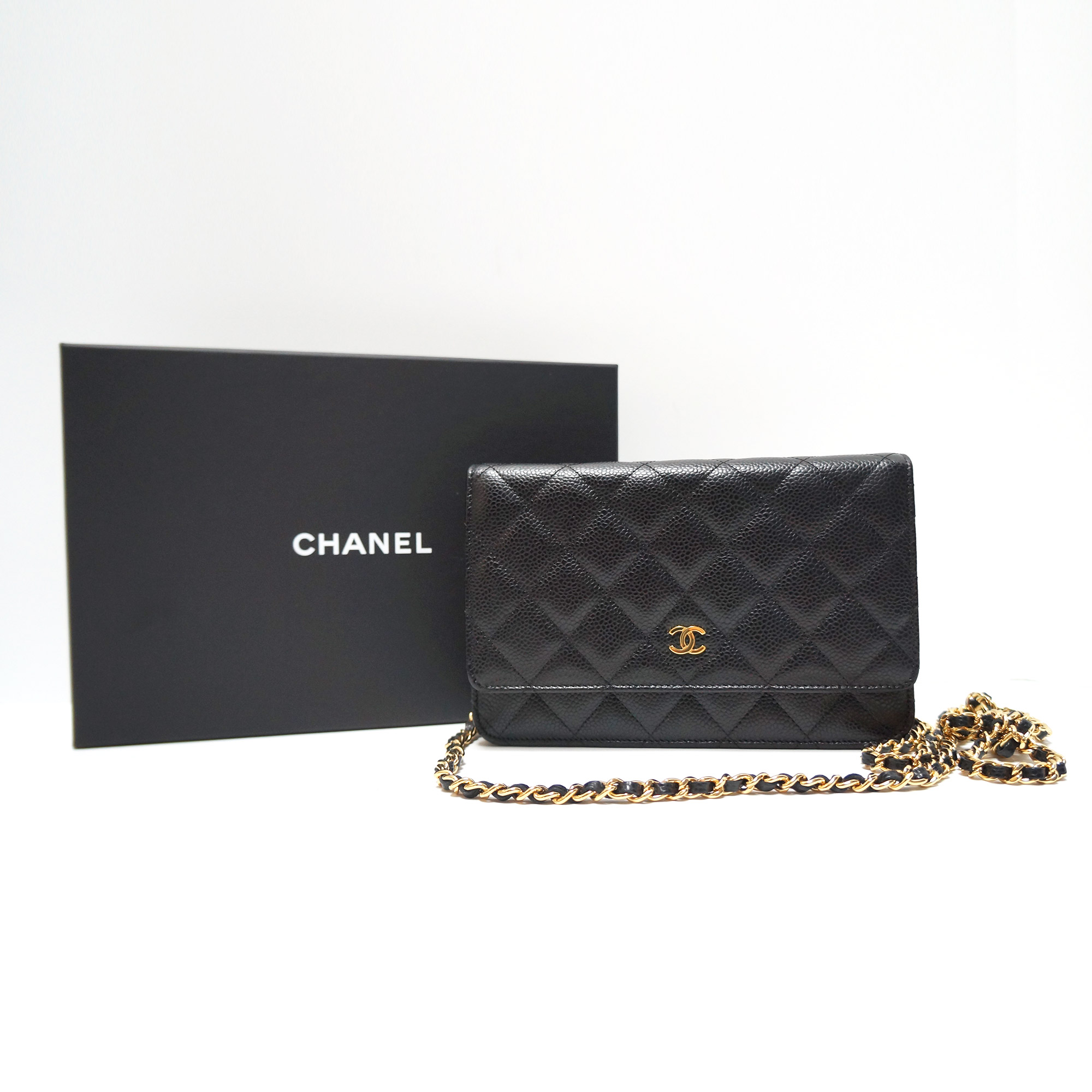 c66c7bcd214483 Chanel WOC Wallet On Chain Bag Crossbody Black Caviar Leather Gold ...