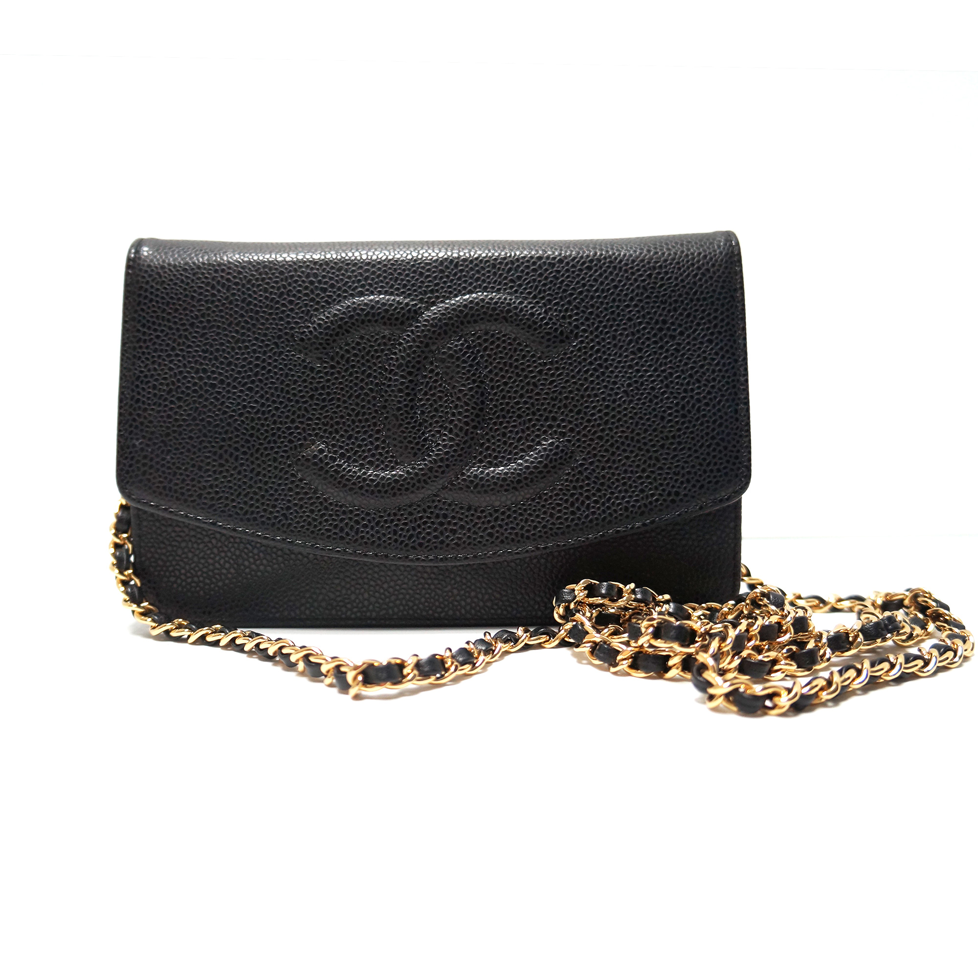 30067b844 Chanel Timeless Wallet-on-a-Chain WOC Bag Black Caviar Leather Gold ...