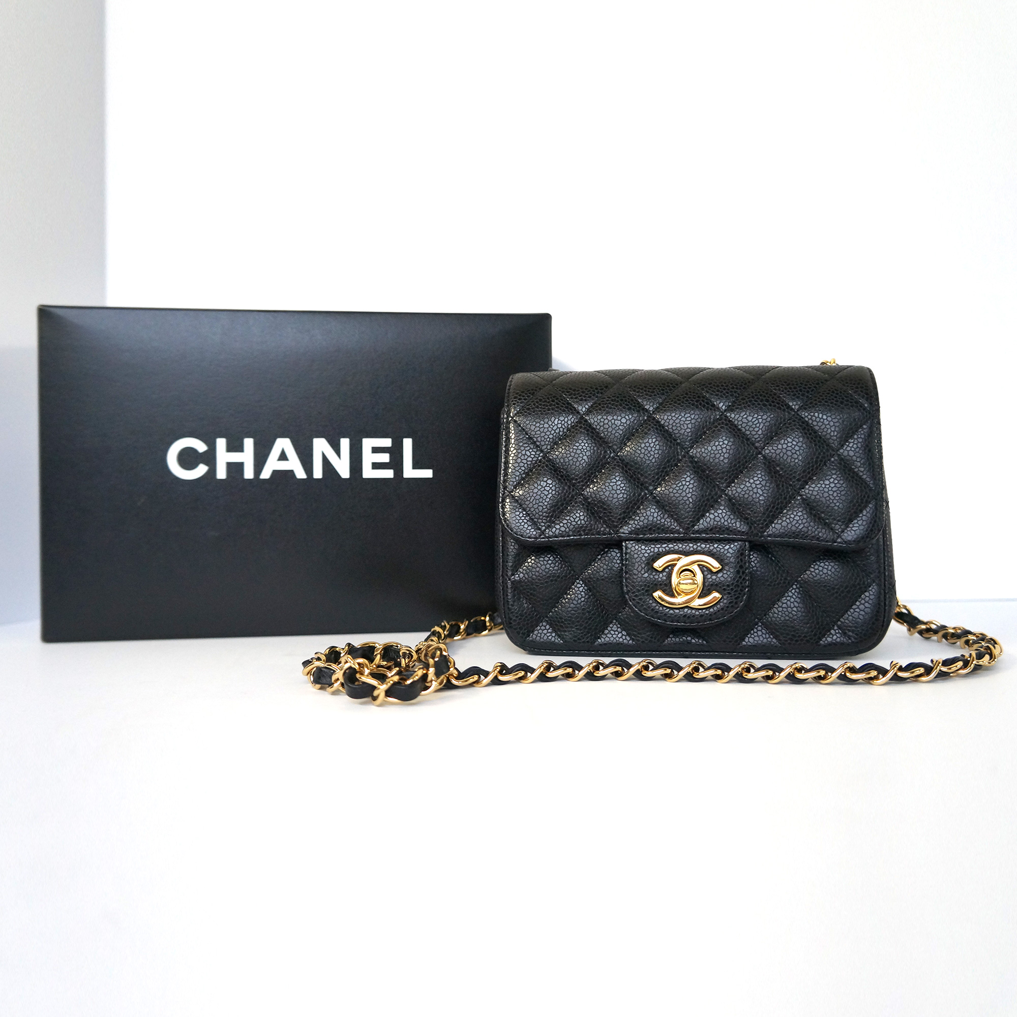 f5e29f2a294ac2 Chanel Classic Square Mini Flap Bag Black Caviar Leather Gold ...