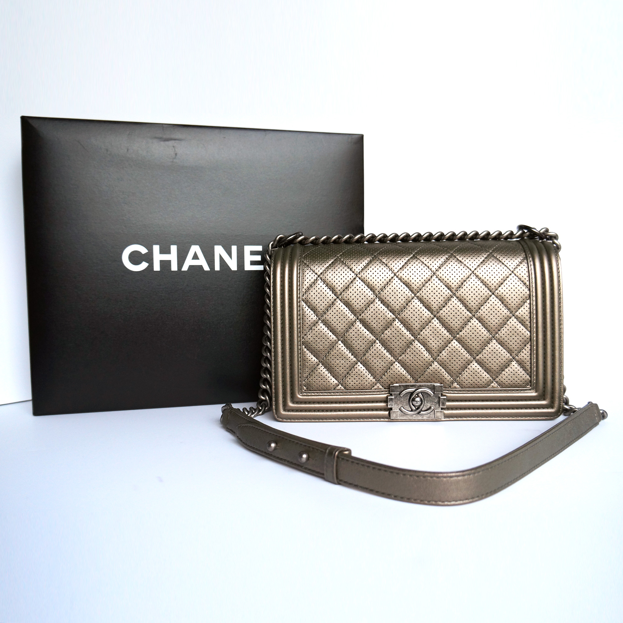 664c540348fb Chanel Boy Flap Bag Dark Silver Perforated Leather Ruthenium Hardware
