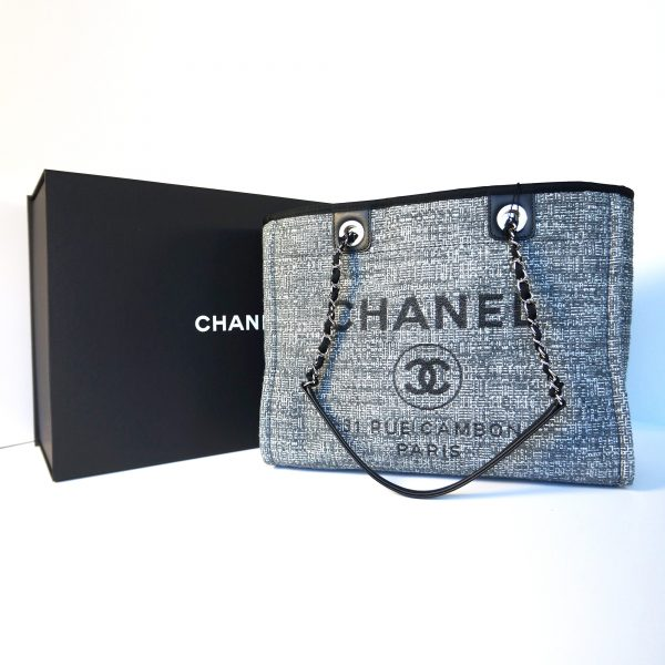 Chanel 2018 Limited Edition Deauville Tote Charcoal Tweed