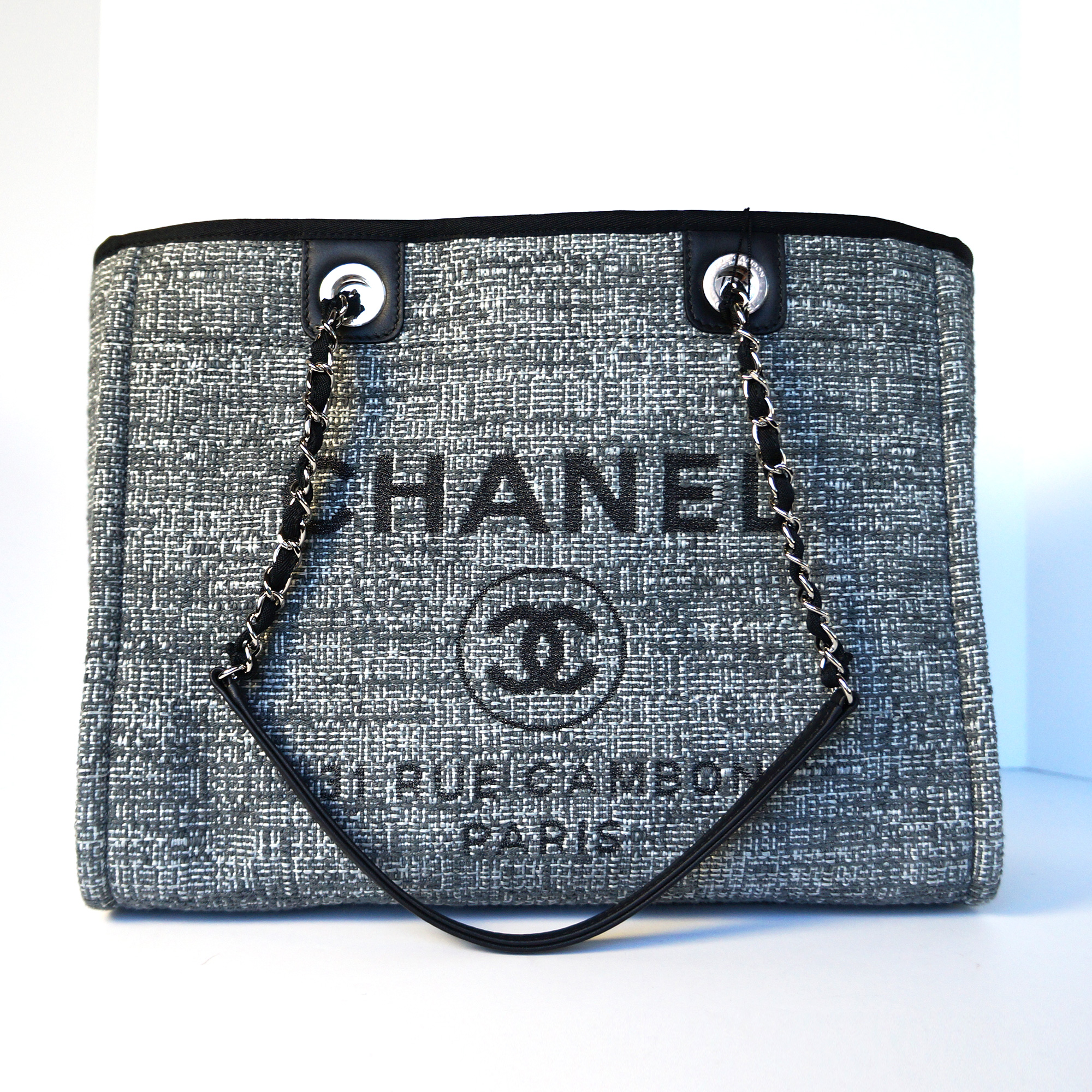 5df34ccf096c Chanel 2018 Limited Edition Deauville Large Shopping Tote Bag Charcoal Tweed