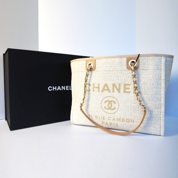 Chanel 2018 Limited Edition Deauville Tote Beige Gold Tweed