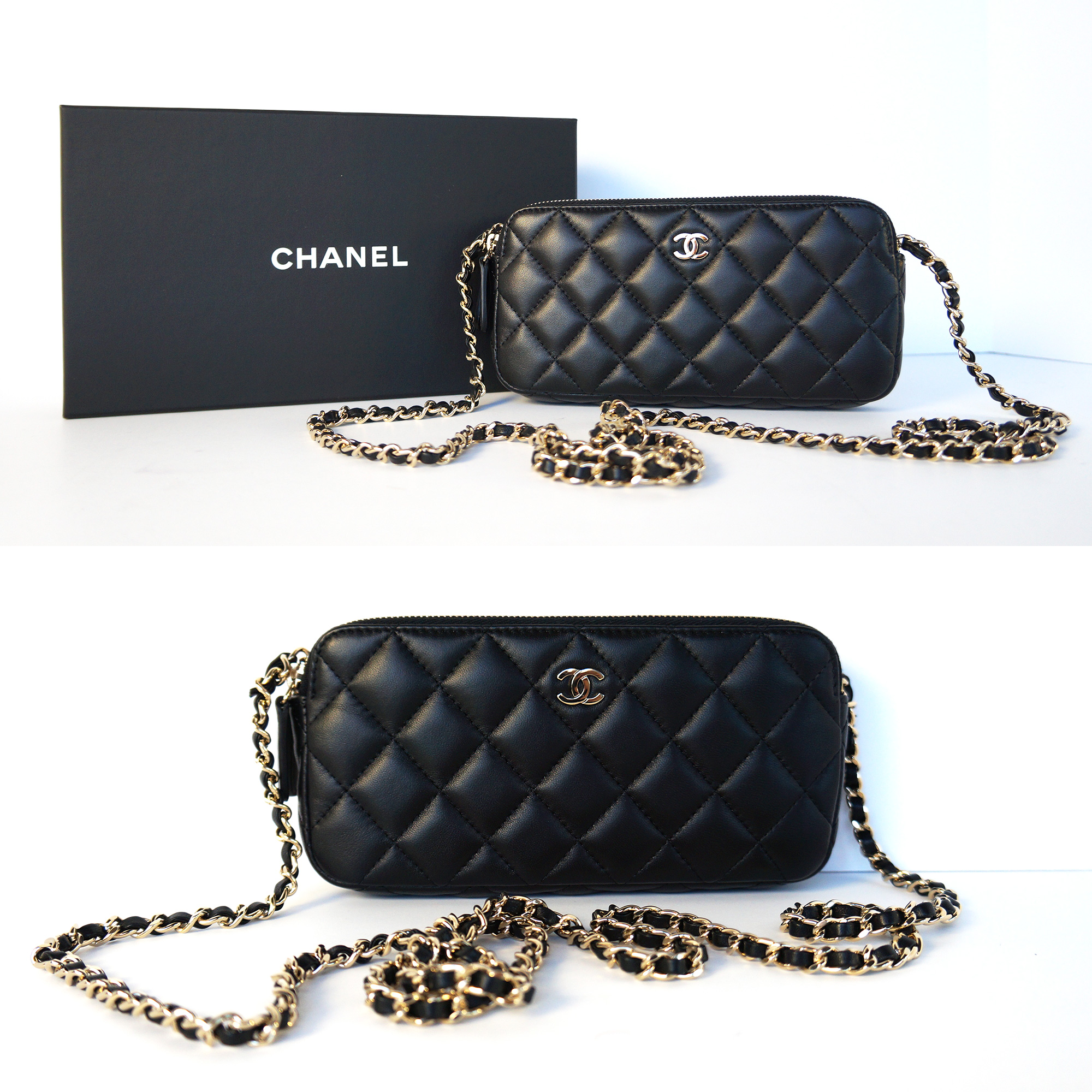 0ac6adb8794a Chanel Double Zip Wallet-on-a-Chain WOC Bag Black Leather Gold ...