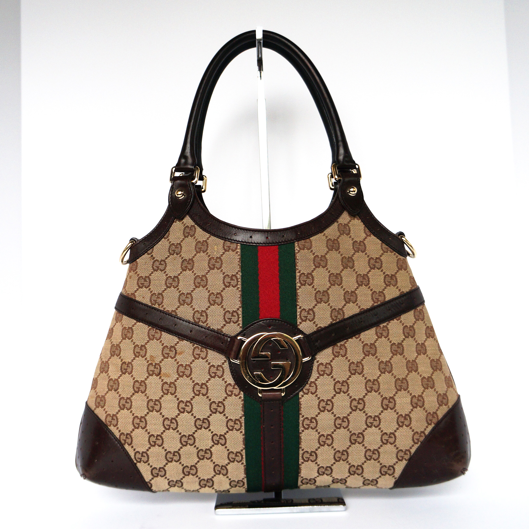 7f66308e715 Gucci Vintage Reins Bag Beige GG Monogram Canvas Brown Leather ...
