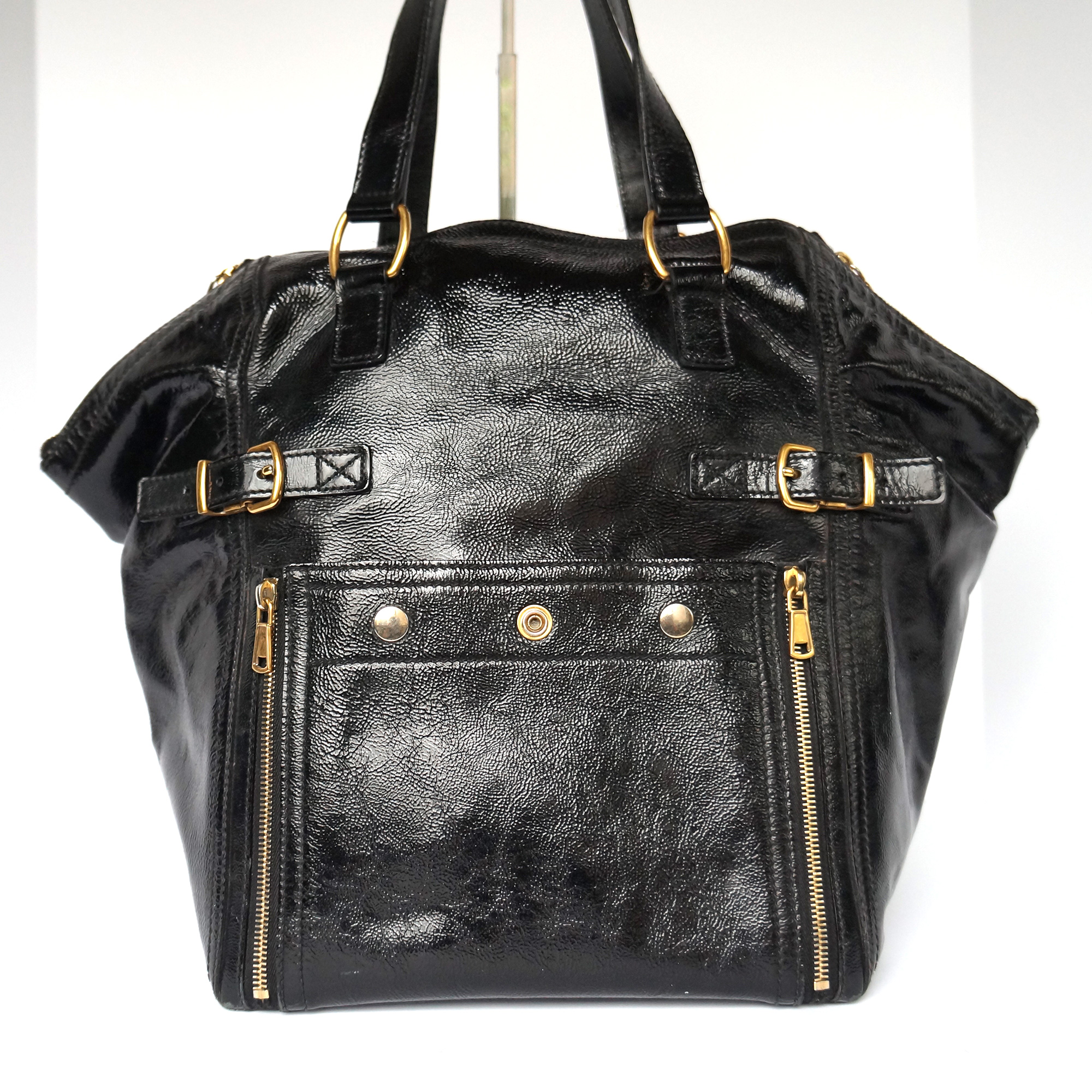 f88d2e14 YSL Yves Saint Laurent Downtown Tote Bag Soft Textured Black Patent Leather