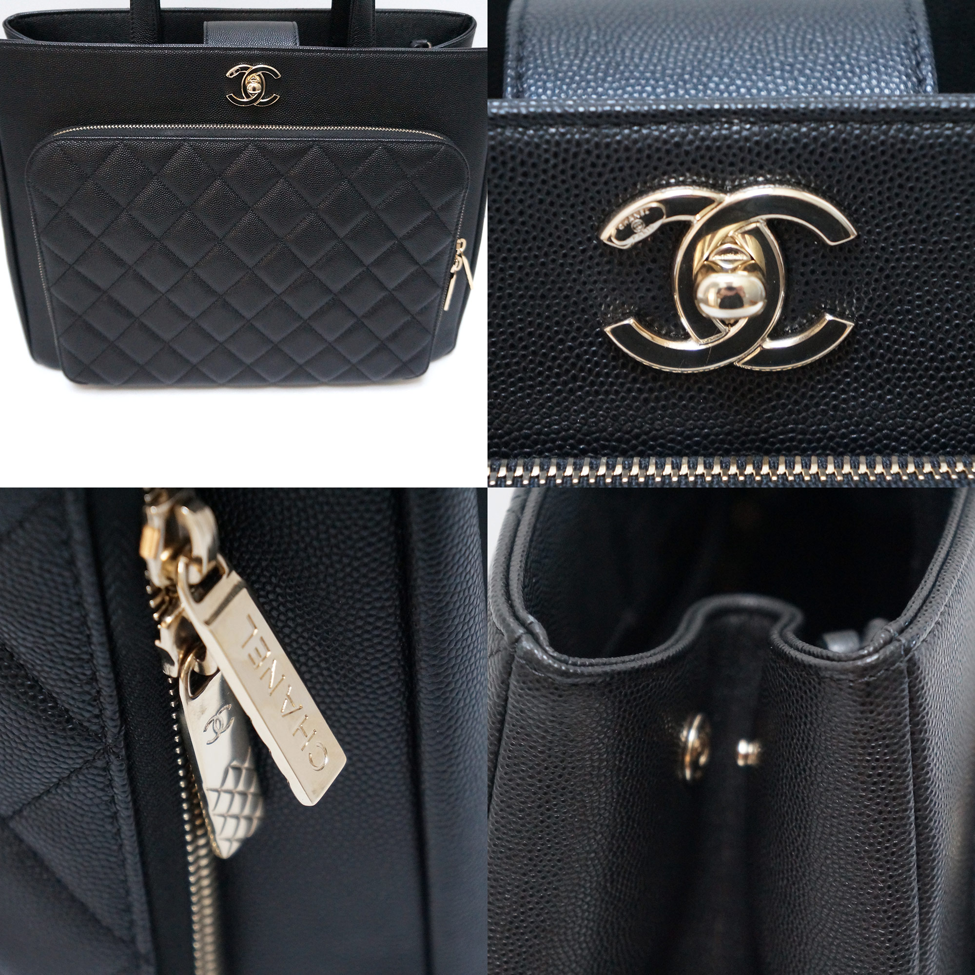 6933a0bcb6cc42 Chanel Lg Business Affinity Shopping Tote Black Caviar Leather Gold Hwr