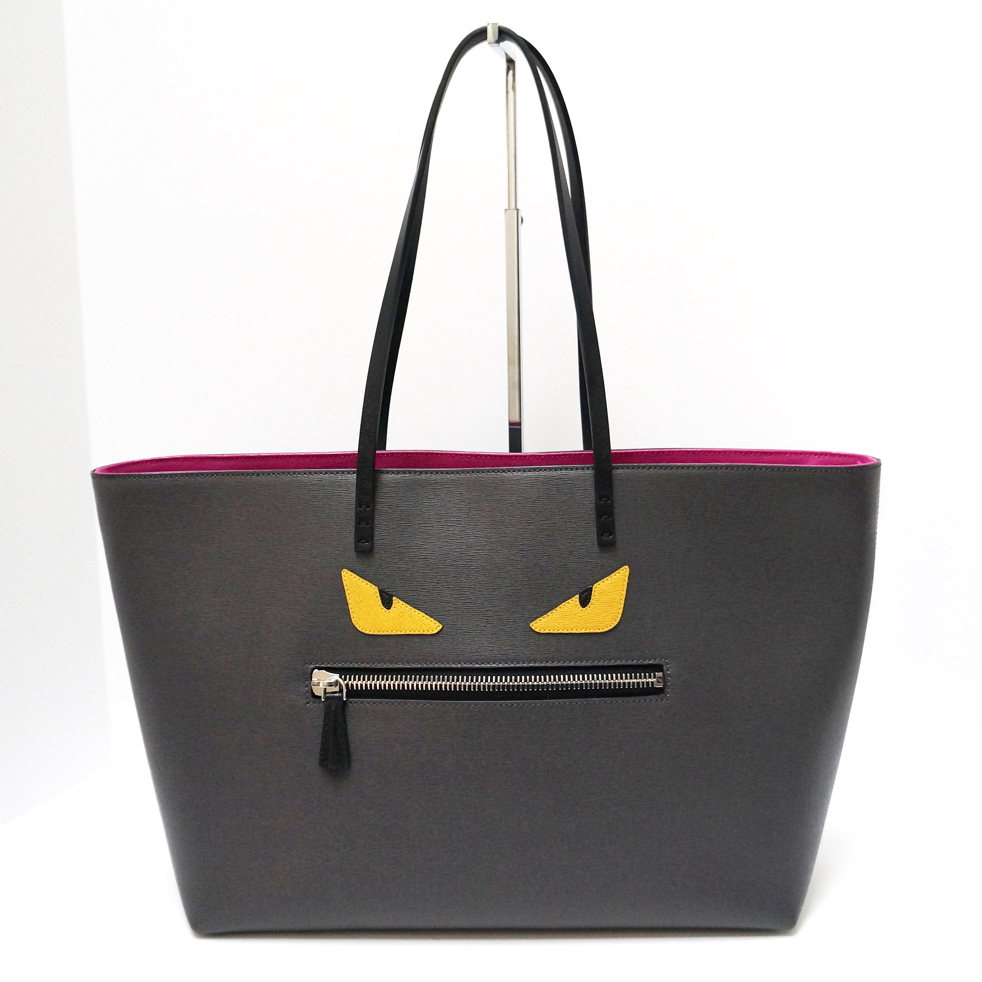 Fendi Monster Tote Grey Leather