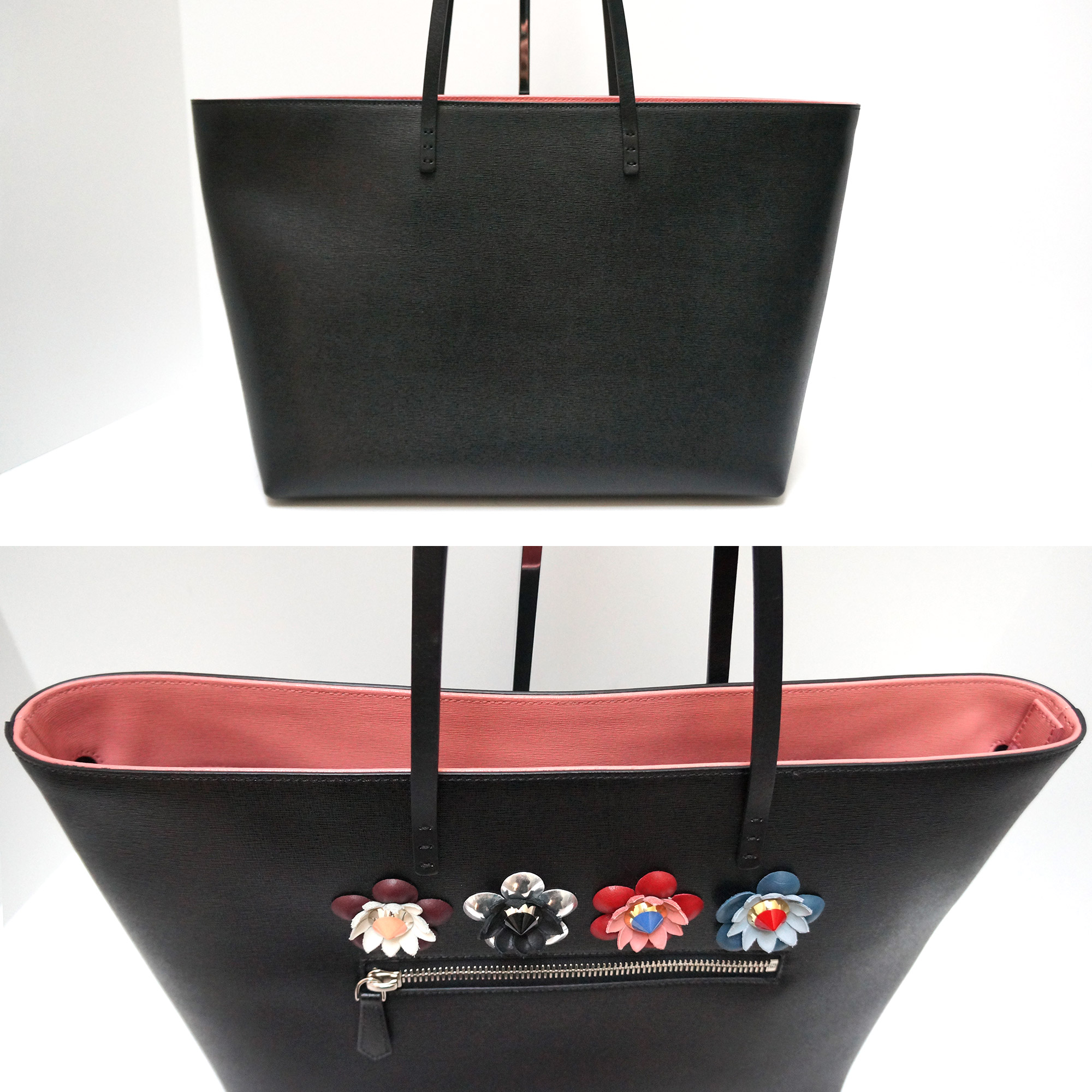 00589cb0f Fendi Medium Flower Embellished Roll Tote Bag Black Leather with ...