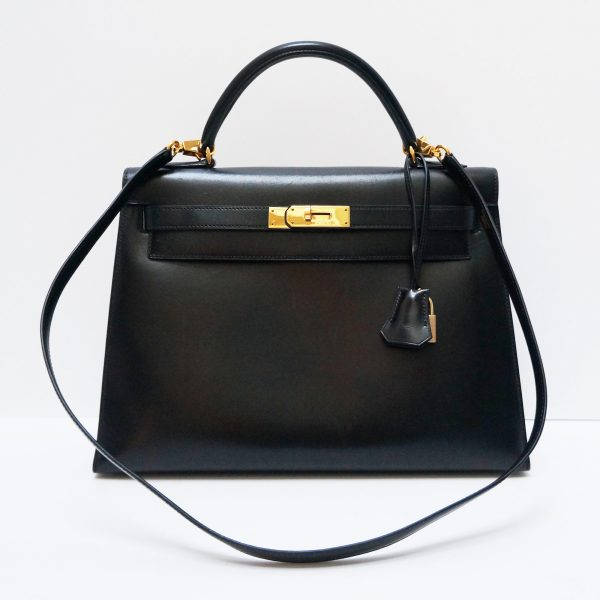 Hermes Kelly 32cm Black Box Leather Bag