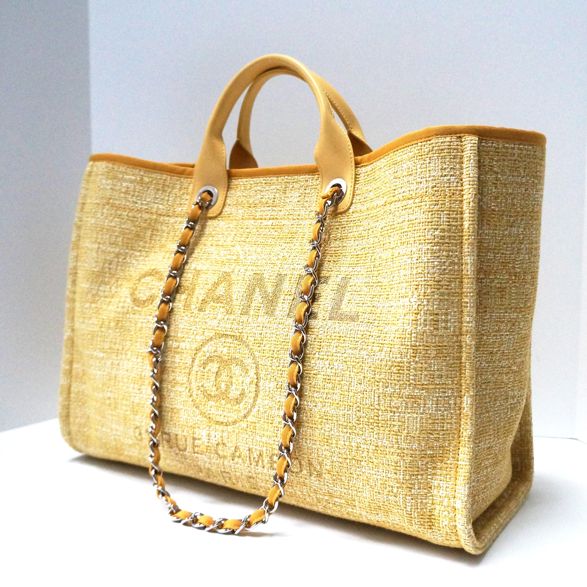 3fe95564f4bc CHANEL 2018 Limited Edition Grande Deauville Shopper Tote Bag Gold/Pale  Yellow