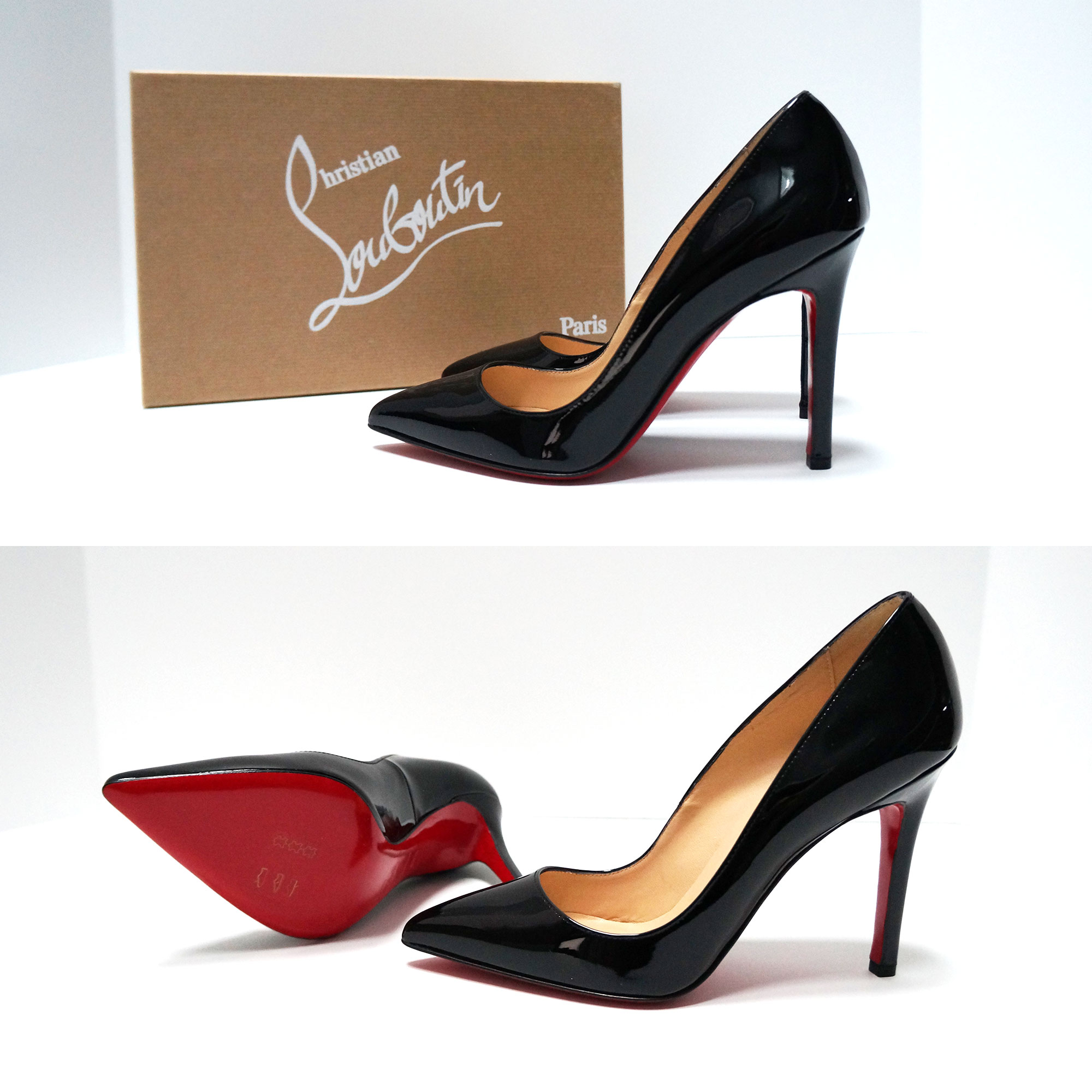 competitive price 9fb43 b2c13 Christian Louboutin Pigalle 100 Patent Leather Pumps Heels Black Shoes 36.5