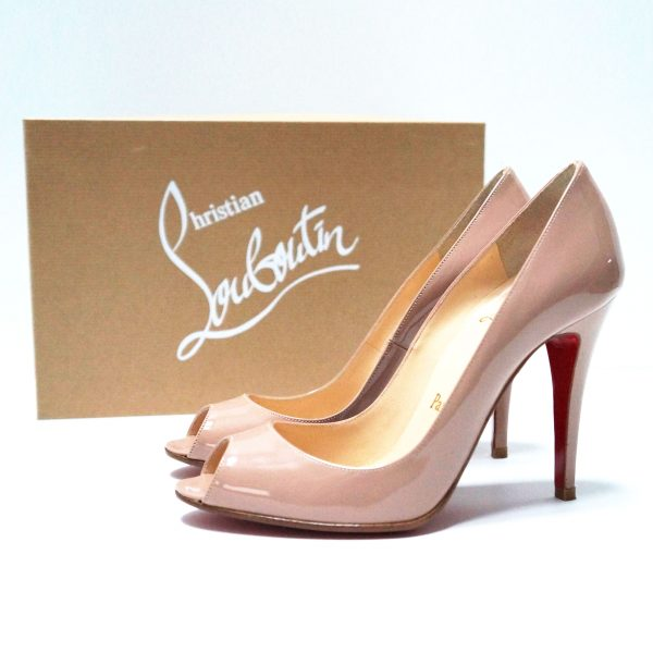 Christian Louboutin Patent Leather Open Toe Pumps