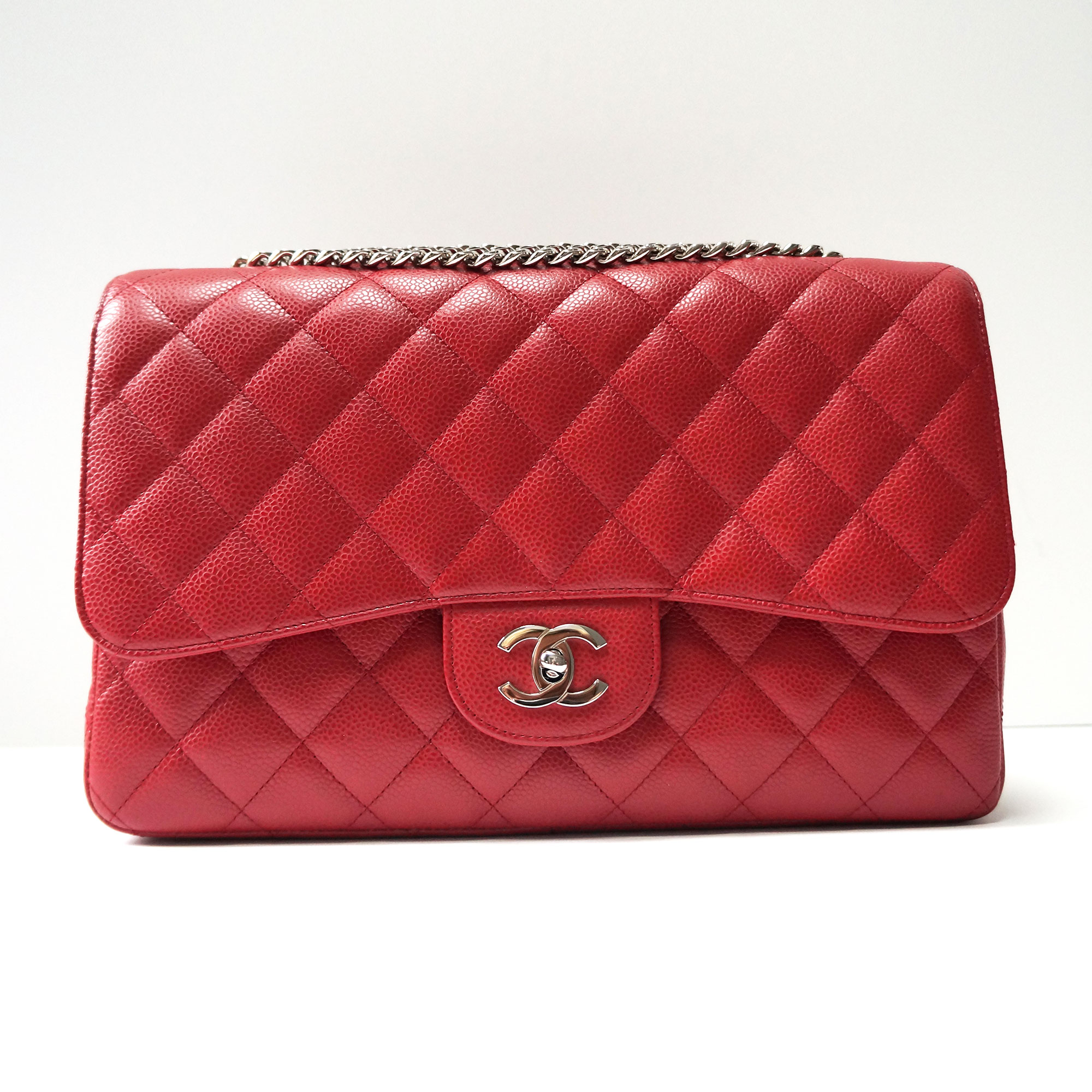 10327aedf3a370 Chanel Red Caviar Leather Jumbo Flap Bag with Bijoux Chain | | My ...