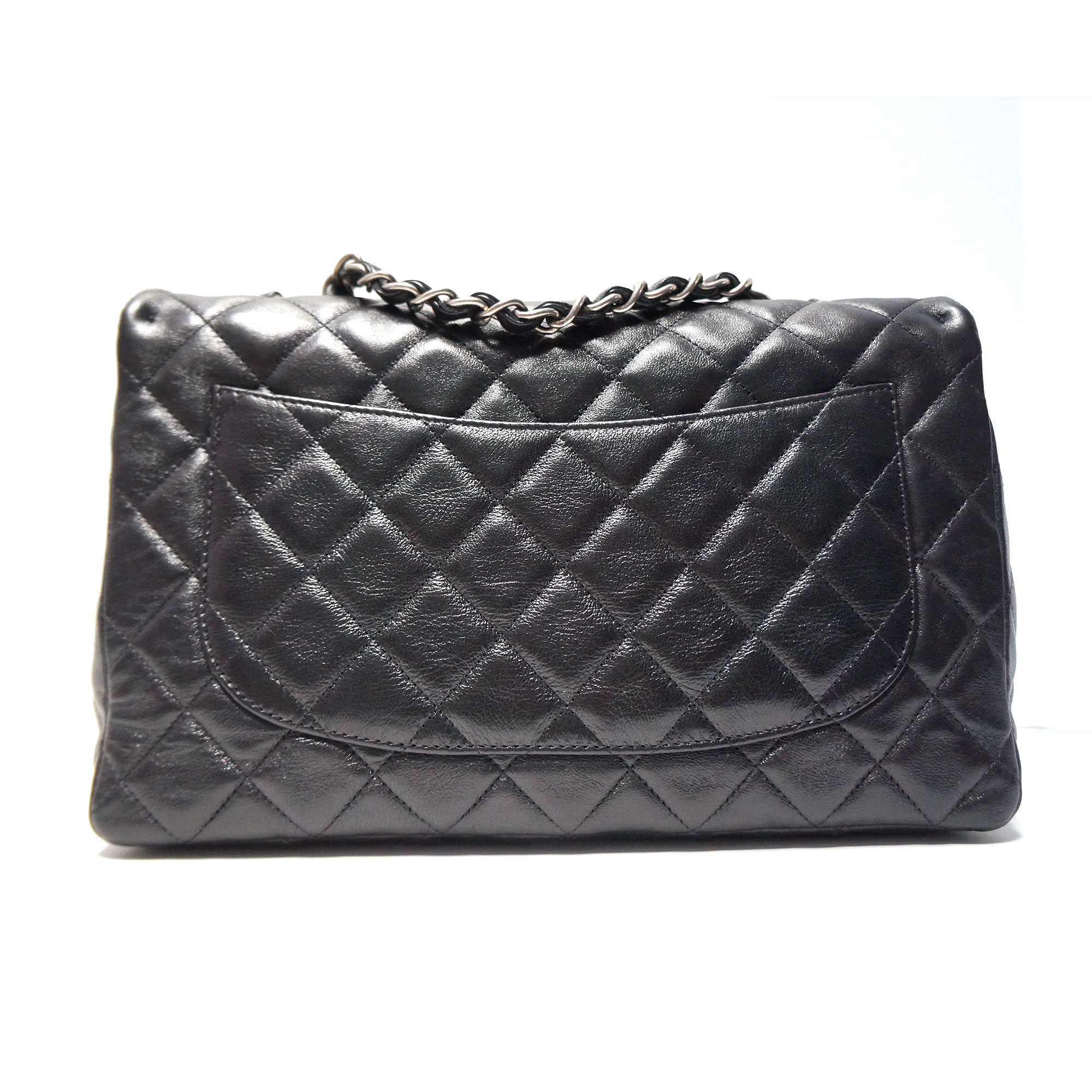 49e1c82415b0 Chanel Black Leather Jumbo Flap Bag with 2.55 Lock     My Personal ...