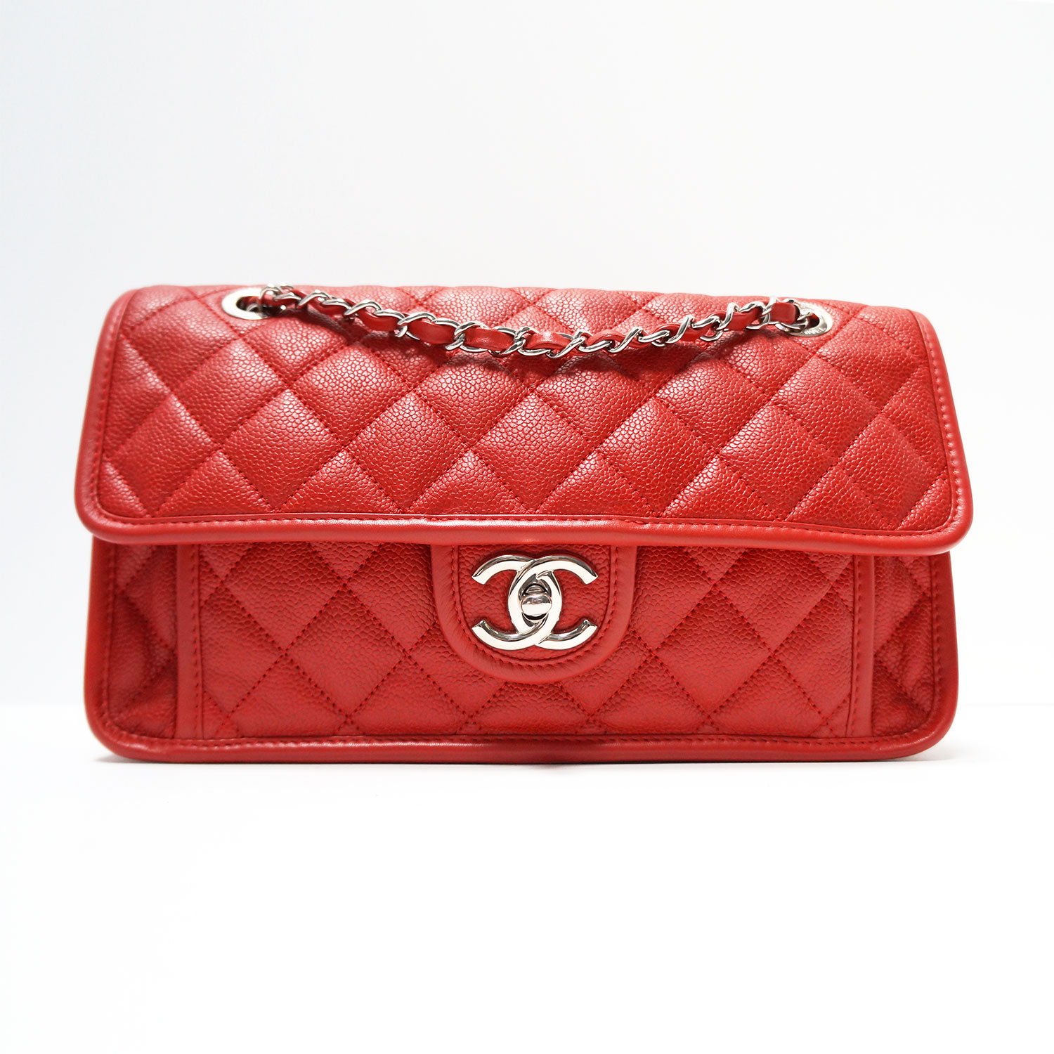 Chanel Riviera Medium Red Caviar Leather Flap Bag  8d93e3d004