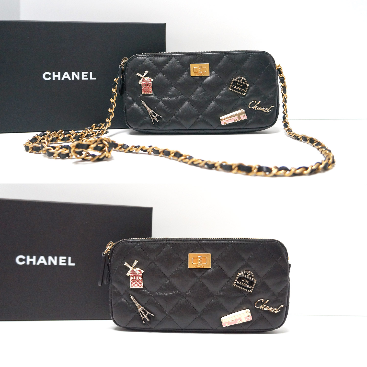ed59fb3cfd864a Chanel Lucky Charms Black Leather Reissue Double Zip WOC Camera Bag ...