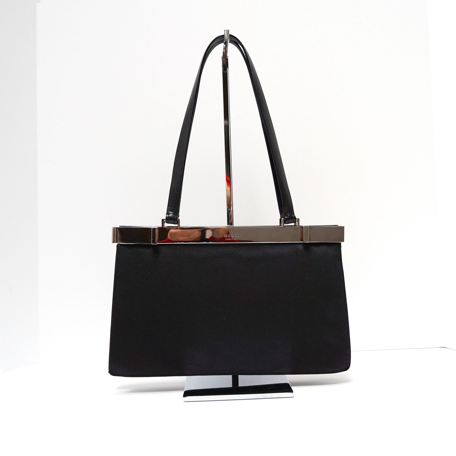 464464b2e9e285 Gucci Black Chic Vintage Top Clasp Evening Bag with Leather Handles ...