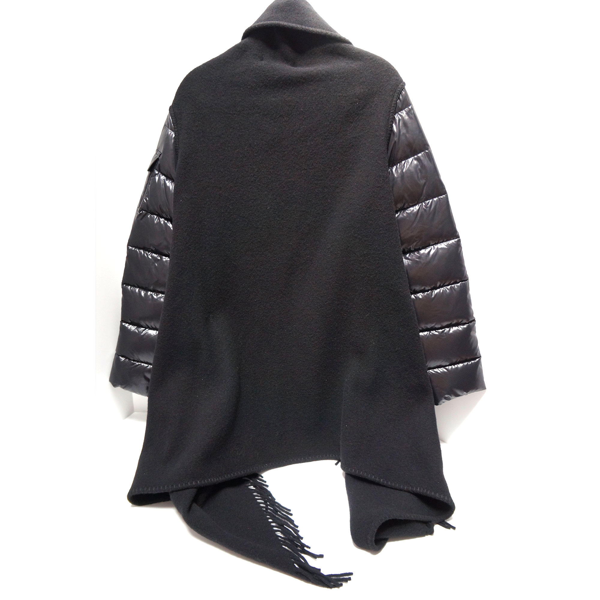 c422d4b2f Moncler Mantella Fringed Cape Jacket with Quilted Puffer Sleeves ...