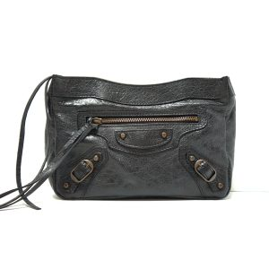 Balenciaga Classic Motorcycle Black Leather Pouchette Clutch Bag