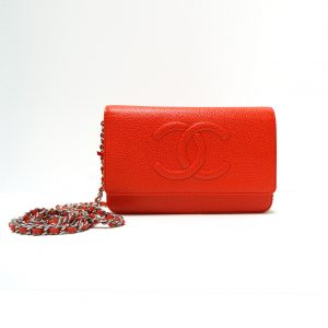 Chanel Light Red Caviar Leather CC WOC