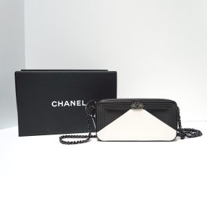 Chanel Le Boy Geometric Black and White Double Zip WOC