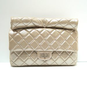 Chanel Light Gold Leather Roll-top 2.55 Clutch Bag