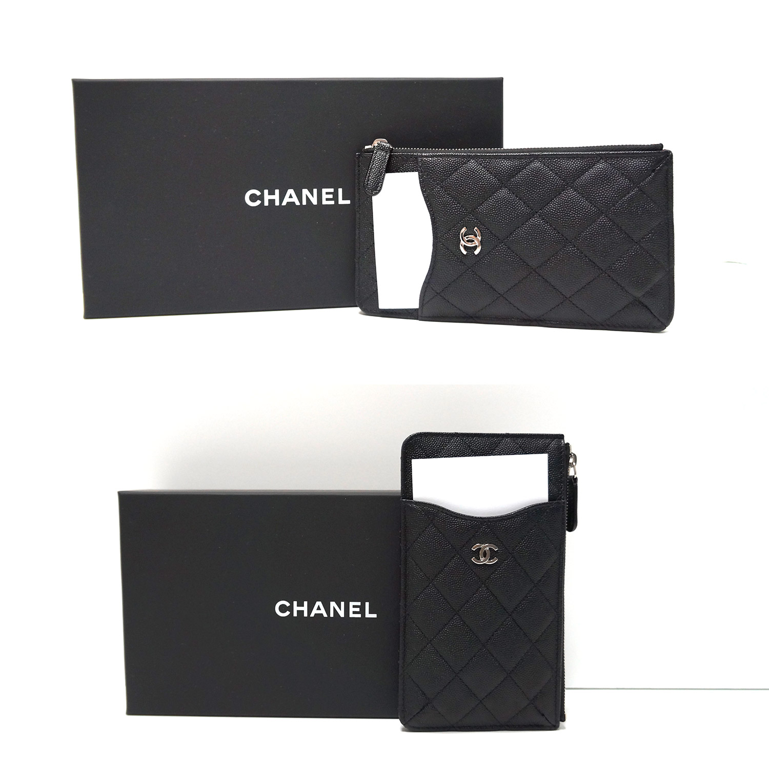 acf9401bf0a3 Chanel Classic Quilted Black Caviar Leather Flat Wallet Phone Pouch ...