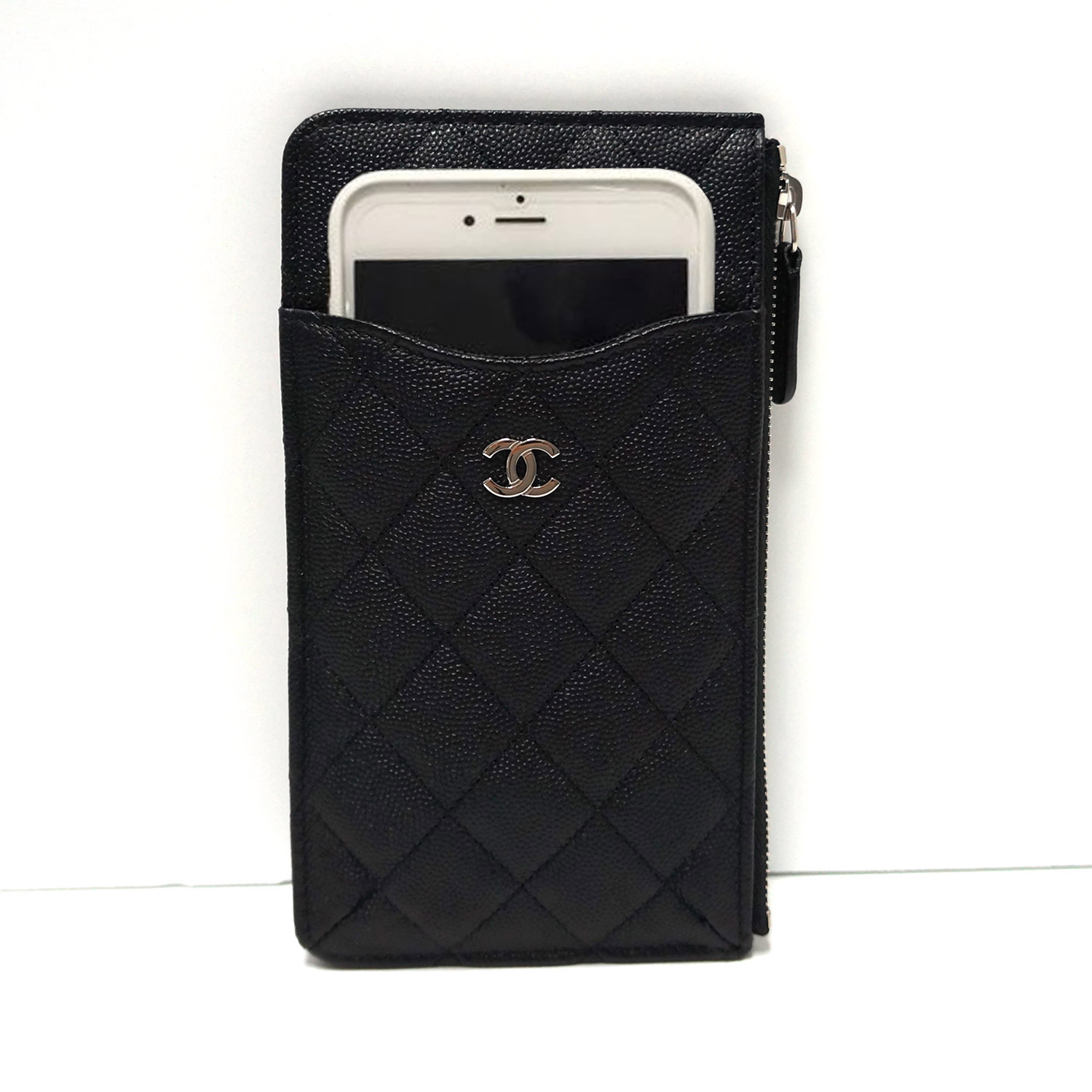 b92c986aa373 Chanel Classic Quilted Black Caviar Leather Flat Wallet Phone Pouch ...