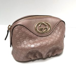Gucci GG Pearl Pink Leather Makeup Case Clutch Bag