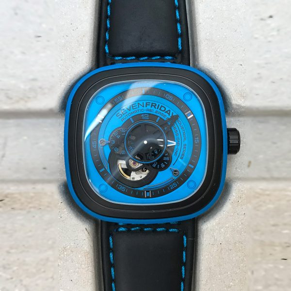 SEVENFRIDAY Industrial Essence Blue Steel PVD Watch SF-P1/04