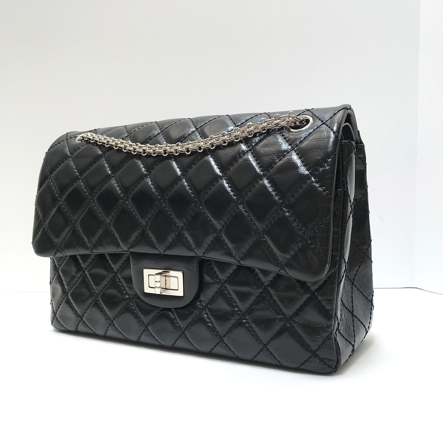 2873918256ff Chanel Black Leather 2.55 Reissue Jumbo Flap Bag with Mademoiselle Chain